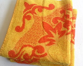 Vintage New unused Orange Yellow hand towels