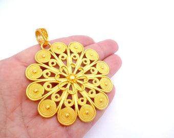 "Large Gold Matte Tone Charm Pendant_ NAC540083324/4457_Round Filigree MT of 60 mm / 2,36""_ pack 1 pcs"