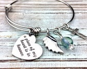 A piece of my heart is in heaven expandable bangle charm bracelet, customized, memorial jewelry, loss of loved one, sympathy gift
