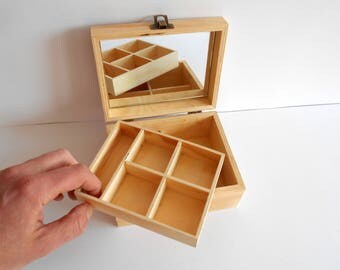 Wooden box with a mirror inside- 9 compartments on 2 levels- keepsake wood box- make up or jewelry box- herbs, trinket or crystals box