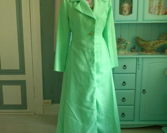 Beautiful Maxi Dress Coat Light Green 1960s Vintage Large RESERVED