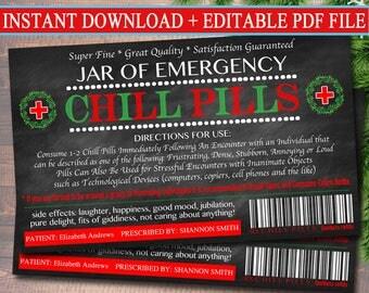 EDITABLE Chill Pills Label, Funny Gag Gift Professional Office Gift, Christmas Gift, Secret Santa, Boss Gift, Coworker Gift Printable Label