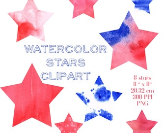Clipart Stars, Watercolor Clipart Stars, Red, Blue, Star Clipart, Digital Scrapbook, Fourth of July, Patriotic