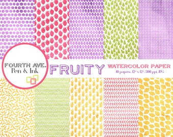 Fruit Digital Paper, Watercolor Digital Paper, Fruit Patterns, Spring Colors, Food, Digital Paper, Digital Paper Pack, Scrapbook Paper