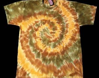 Earth Tone Spiral Tie Dye Shirt