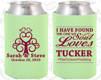 I have found the one my Soul Loves, Custom Wedding Gift, Wedding Hashtag, Romantic Wedding Gift, Wedding Love Tree, Can Coolers (498)