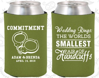 Wedding Rings, The Worlds Smallest Pair of Handcuffs, Custom Gifts, Handcuffs, Commitment, Personalized Can Coolers (505)