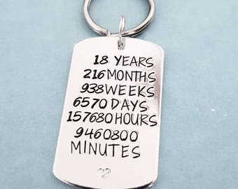 18th birthday present for him or her handstamped unique quality keyring. Show hours years months mins something very different