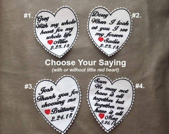 GROOM TIE PATCH - Choose A Saying - Little Red Heart Default, Personalized Tie Patch, Groom Gift, Iron On Patch, Sew On Patch