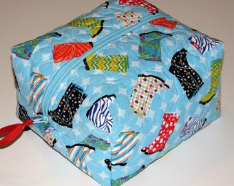 Boxy Zippered Pouch, Quilted Fabric Pouch, Project Bag, Pencil Case, Cosmetics Bag, Rain Boots Novelty Print, Quiltsy Handmade