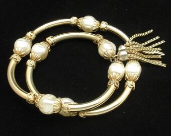 Wrap Bracelet with Tassels and Imitation Pearls Vintage