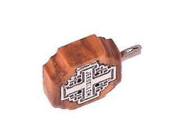 "Olive wood Jerusalem Cross with Embedded pewter Jerusalem Cross (1.6cm - 0.65"") - 5mm thick"