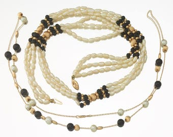 "Pair of 14k Gold, Pearl and Black Onyx Beads Necklaces -- consisting of one 24"" long single strand and one three strand 23"" Long"