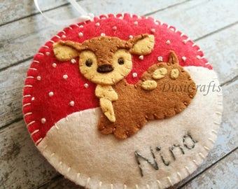 PRE ORDER / Personalized Baby Deer ornament, Wool felt Deer ornaments with Embroidered Name, Personalised Girls ornament, Fawn ornament