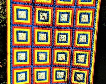 Patchwork Quilt. ***FREE SHIPPING!***  Handmade and hand quilted 45 x 68 Colourful large lap quilt  Colourful Patchwork throw or bed topper.