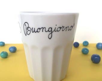 """White ceramic wine glass with the inscription """"Buongiorno"""""""