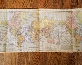 1901 Rand McNally and Co.'s New Travel Chart and Distance Table of the World