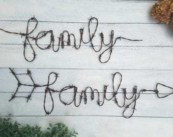 Barbed Wire Family Sign - Rustic Wall Sign - Family Sign - Wall Arrow - Rustic Home Decor - Barbed Wire - Farmhouse - Family - Signs -Wire