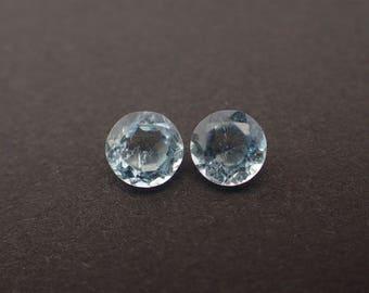 2 Aquamarine gemstones from Madagascar - 1.1ct / 5.4mm round cut stones (B646)