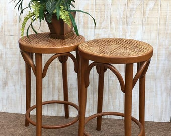 vintage pair of wooden bar stools romania bar stools with caned seats