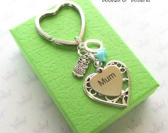 Personalised mum keyring - Birthday gift for mum - Mother's Day gift - Owl keyring - Mum keychain - Owl keychain - Etsy UK - Stocking filler