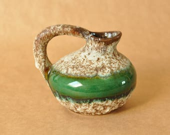Jopeko vase - West German pottery - Fat Lava and green glaze - model 404 - similar to Ruscha 313