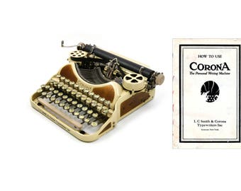 Corona 4 Portable Typewriter Owner's Manual - User's Manual for 1920s Corona Four - Digital Download - Antique Corona 4 Typewriter Manual