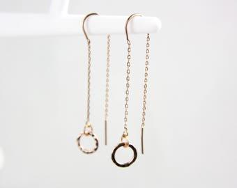 Rose gold hammered circle threader earrings earrings