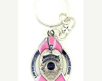 15% OFF SALE Law Enforcement For the Cure Pink Ribbon Shield Keychain SKU: Kc139