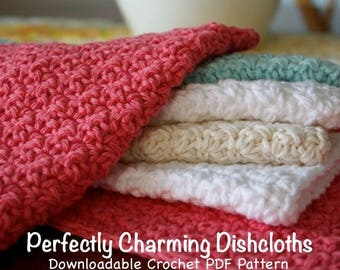 Crochet Pattern - Perfectly Charming Dishcloths - Crochet PDF Pattern- easy crochet pattern- beginner crochet pattern