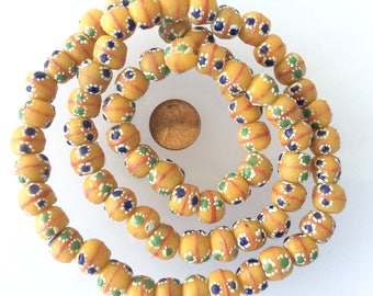 72 Handmade African sweet yellow recycled Glass Ghana Glass Beads