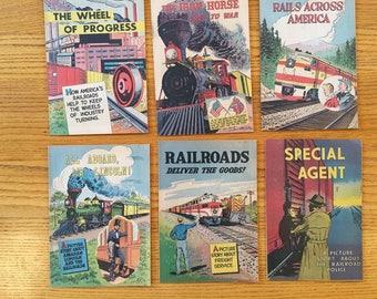 Set of six vintage educational comics about the railroad