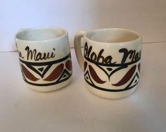 Vintage (2) Hand Painted  Maui Hawaii  pottery coffee mugs- Brown and Black
