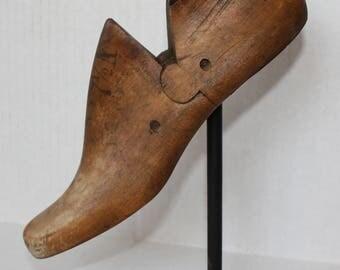 Antique Vintage Industrial Loft Wooden Shoe Last, Wood Mold on Stand, Cobblers Form # 4