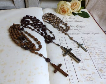 Set of 3 antique French seed rosaries. Spina christi, Olive pit, Job's tears. Long seed rosaries. Rustic decor. Jeanne d'Arc living.