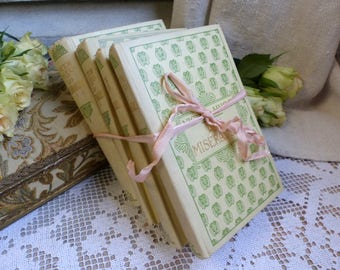 Set of 4 french pale yellow hardback books. 1930s. Jeanne d'Arc living. Rustic romantic. French Nordic decor. Pretty books shabby french.