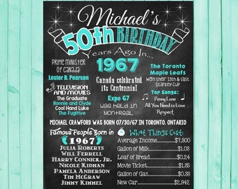 CANADIAN 50th Birthday Chalkboard 1967 Poster Canada facts 50 Years Ago in 1967 Born in 1967 50th Birthday Gift