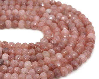 6mmFL05 6mm Faceted strawberry quartz roncelle loose gemstone beads 16""