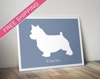 Personalized Norwich Terrier Silhouette Print with Custom Name - Norwich Terrier art, dog poster, modern dog home decor