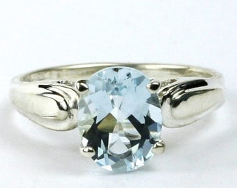 On Sale, 20% Off, Aquamarine, 925 Sterling Silver Ring, SR058
