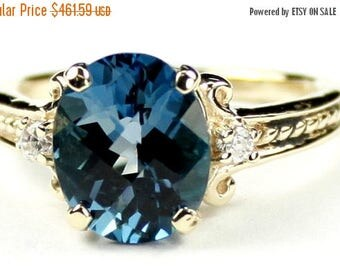 On Sale, 30%Off, London Blue Topaz, 10KY Gold Ring, R136