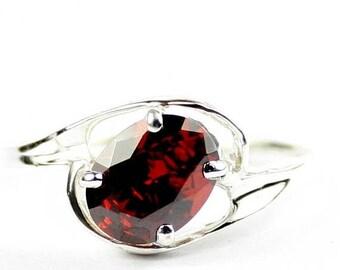 On Sale, 30% Off, Garnet CZ, 925 Sterling Silver Ring, SR186