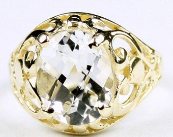 On Sale, 30% Off, Silver Topaz, 18KY Gold Ring R004