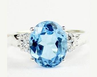 On Sale, 30% Off, Swiss Blue Topaz, 925 Sterling Silver Ring, SR123