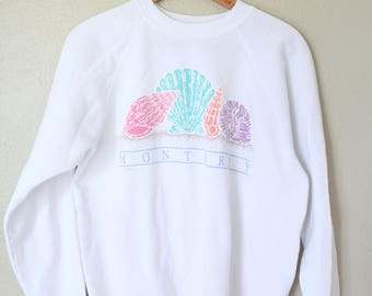 vintage monterey california white sea shell sweatshirt *