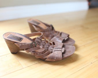 vintage clarks tan leather strappy hurache wedge sandals womens 8 1/2