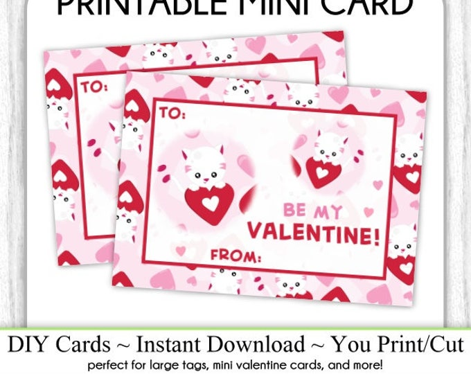 Kitty Cat Valentine's Day Printable Cards, Valentine Mini Cards, DIY, You Print, Kitty Valentine Printable Cards, Instant Download