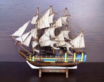 Model sailing ship Vintage model sailing boat Wood boat Nautical model on a stand
