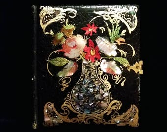 1/6 Plate Early Tintype in Papier-Mâché and Mother of Pearl Book Style Case - Neff's Melainotype