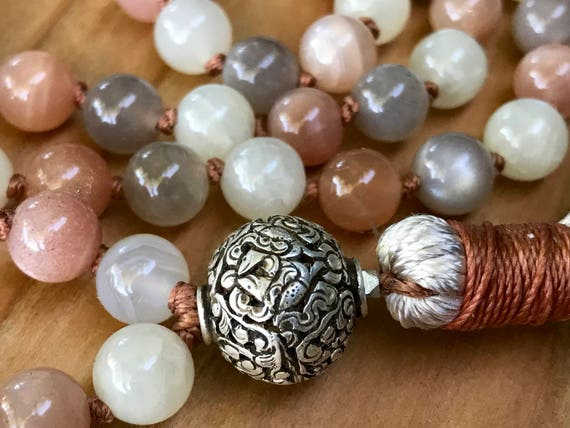 Fertility Mala Beads, Moonstone, Fish Symbols, Eight Auspicious Symbols, Buddhist Beads, Abundance, Tibetan Sterling Bead, Ashtamangala